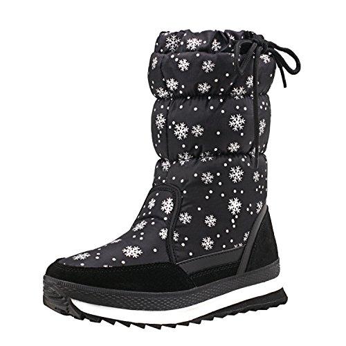 Gamba H20612 Stivali Invernali Neve da Shenji A Scarpe Nero Mezza Donna Antisdrucciolo ZxTCCw