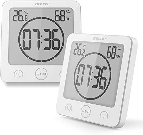 BALDR Waterproof Timer Shower Clock Bathroom Clock Wall Mounted, Displays Time, Temperature, and Indoor Relative Humidity 2 Packs, White
