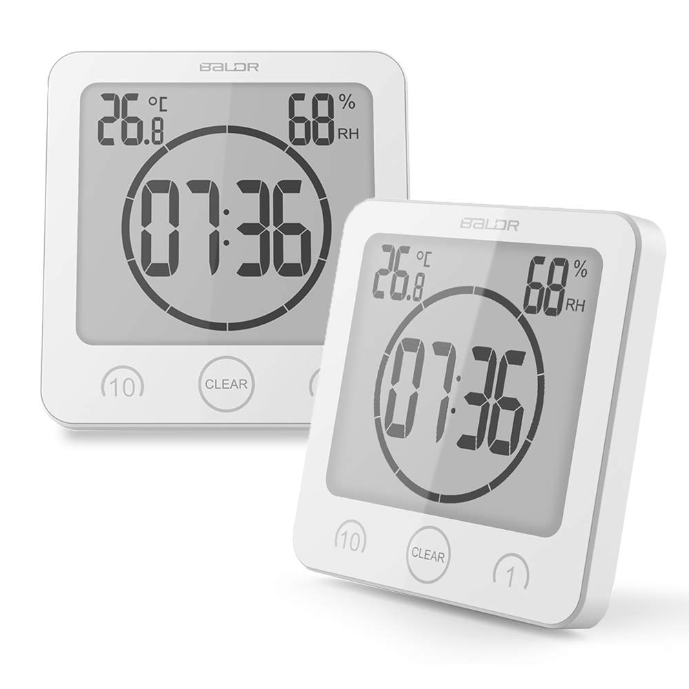 BALDR Waterproof Timer Shower Clock Bathroom Clock Wall Mounted, Displays Time, Temperature, and Indoor Relative Humidity (2 Packs, White) by BALDR