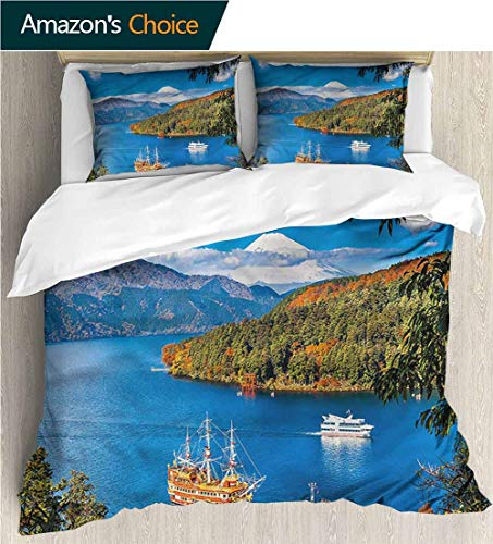 carmaxs-home 3 Pcs Duvet Cover Sets,Box Stitched,Soft,Breathable,Hypoallergenic,Fade Resistant 3D Print 100% Polyester Fiber Quilt Cover 2-Pillowcases -Pirate Ship Lake Ashi in Japan (68