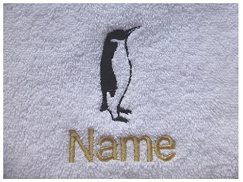 EFY Face Cloth, Hand Towel, Bath Towel or Bath Sheet Personalised with PENGUIN logo and name of your choice (Face Cloth 30x30cm)