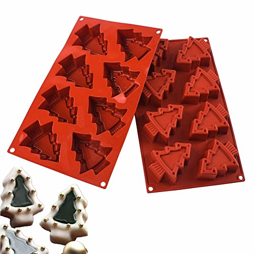Christmas Tree Mold (Wocuz 8 Cavity Christmas Tree Shape Silicone Mold Soap Moulds DIY Cupcake Cake Decoration Tool for Thanksgiving Christmas Gift)