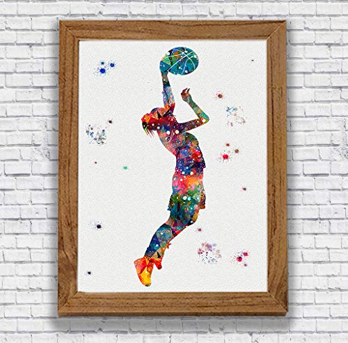 Basketball Player Gril Watercolor Art Prints Sports Wall Decor Girl's Bedroom Artworks Kid's Room Wall Art Home Decor Wall Hanging Basketball Player Gift