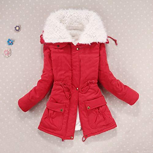 Chaud Parka Monochrome Huhu833 Manches À Femmes Vêtements Rouge Vintage Oversize Manteau D'hiver Manteaux Avec Longues Poches Pqww1TxR
