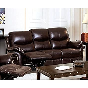 Amazon.com: Furniture of America Wess Leather Reclining Sofa in ...