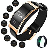 Fitness Tracker watch, Activity Tracker Watch with Heart Rate Monitor, Waterproof Smart Fitness Band with Step Counter, Calorie Counter, Pedometer Watch for Women and Men, Android iOS CK11S(Golden)