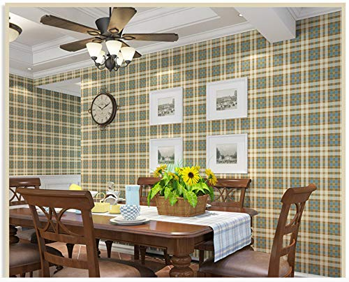 Wallpaper Non-Woven Modern Minimalist Yellow Plaid Wallpaper for Livingroom Bedroom Home Decoration Paper Roll