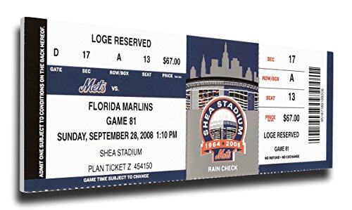 New York Mets final game at Shea stadium mega ticket canvas Sept 28 2008 Mets Stadium Tickets