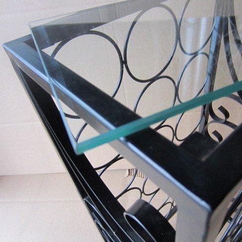 18 Bottle Capacity Glass Top Floor Wine Rack in Black Finish Weather Resistant 29'' H x 15'' W x 9'' D