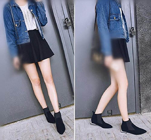 Women's Daily Shoes Pointed Sleeve Short Boots Suede Casual Ankle Boots Stylish Cut with Real Leather 38 kEjsS