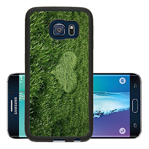 Liili Premium Samsung Galaxy S6 Edge Aluminum Backplate Bumper Snap Case IMAGE ID: 11779722 Grass meadow bird eye view with a heart shape cut grass in the middle Birdseye Diamond