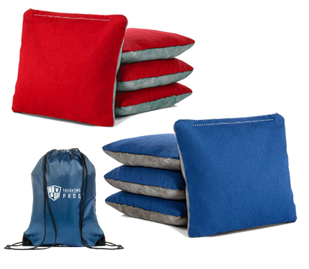 Tailgating Pros Pro-Style Two-Sided Cornhole Bags Red Royal Blue w/Grey Suede & Bag Tote - Slick & Stick - All Weather - Set of 8 by Tailgating Pros