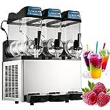 VEVOR Smoothie Maker 3 Bowls Slush Drink Maker Slushie Machine 12L x 3 Tanks Margarita Machine Commercial Frozen Drink Machine Slushy Making Machine(3 Bowls)