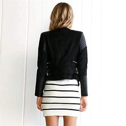 HYDSFG Spliced Faux Leather Suede Jacket Women Moto Coat ...