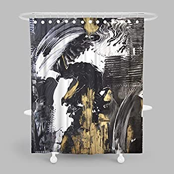 MuaToo Decorative Shower Curtain, Abstract Hand Painted Black and White with Gold Background Acrylic Painting Print, Waterproof Fabric Bathroom Decor Sets with Hooks 60 x 72 Inches