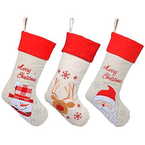 - KI Store Christmas Stockings Burlap Set of 3 for Kids Goody Gift Bags Ornaments 17