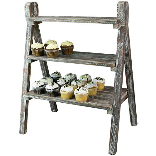 MyGift 3-Tier Rustic Torched Wood Plant Stand & Display Riser (Rustic Wood Cupcake Stand)