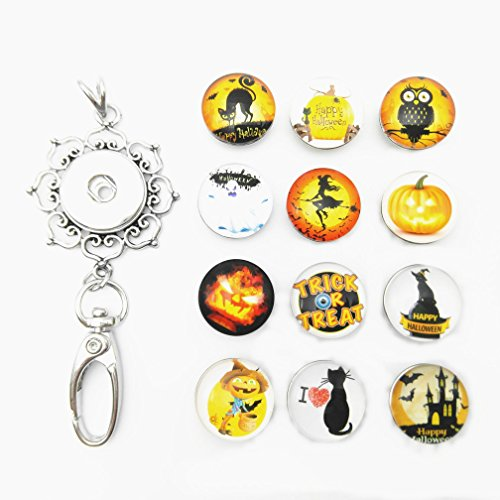 (Lovglisten Halloween Style 12pcs Snap Charms Jewelry Pendant Clip Womens Office Lanyard ID Badges Holder Necklace with Chain)