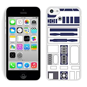 Unique And Antiskid Designed Cover Case For iPhone 5C With R2D2 Minimalist White Phone Case