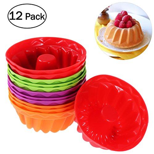 BESTONZON 12pcs Fluted Cake Pan - Silicone Round Cake Mold Chiffon Dessert Mold Fluted Tube Mold(Random Colors)