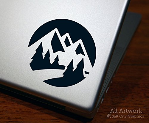 City Scene Vinyl - Salt City Graphics Mountain Scene Decal, Nature Scene Sticker - Pine Trees, River, Mountains - Laptop Decal, Tablet Sticker(4 inches Wide, Black)