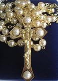 Grain de chapelet en perle. Crucifix en or. Chapelet Vierge Marie. Cadeau de premiere communion