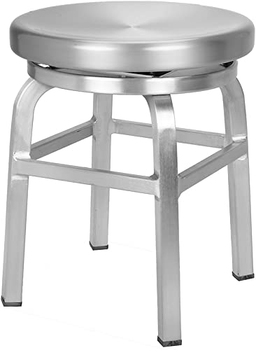 Renovoo Aluminum Swivel Backless Dining Stool, Commercial Quality, Brushed Aluminum Finish, 18 inches Seat Height, Indoor and Outdoor Use, 1 Pack