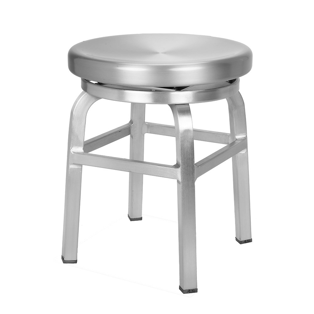 Renovoo Aluminum Swivel Backless Dining Stool, Commercial Quality, Brushed Aluminum Finish, 18 inches Seat Height, Indoor and Outdoor Use, 1 Pack by Renovoo