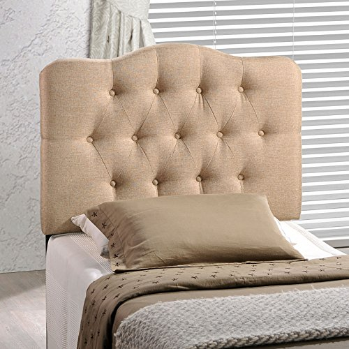 Modway Annabel Tufted Button Linen Fabric Upholstered Twin Headboard in Beige