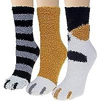 TRJHomes Cat Paw Bed Socks - Orange Series 3 Pairs Package Super Soft Cute Animal Fuzzy Slipper Socks Designed For…