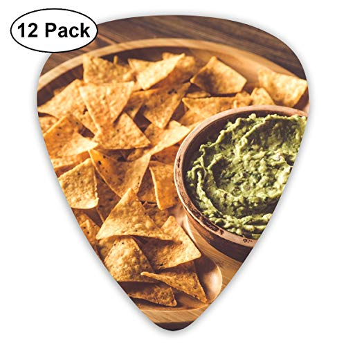 KIMBERLYBLAINE Guacamole with Tortilla Chips On The Wooden Tray Guitar Picks Premium Picks Sampler Includes Thin, Medium, Heavy Gauges 12 Pack
