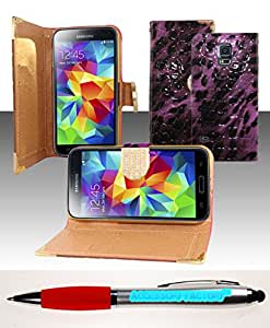 Accessory Factory(TM) Bundle (the item, 2in1 Stylus Point Pen) For Samsung Galaxy S5 - Horizontal EXCLUSIVE DIAMOND Flap Pouch w Credit Card Pockets Purple Leopard ECFHP Stylish Full Diamond Bling Design Snap On Hard Case Protector Cover Faceplate Shell