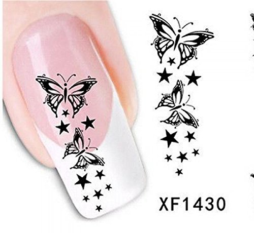 Nice Water Transfer Black Sticker 3D Art Nail Stickers Item Code XF1430 (Water Transfer Printing Machine compare prices)