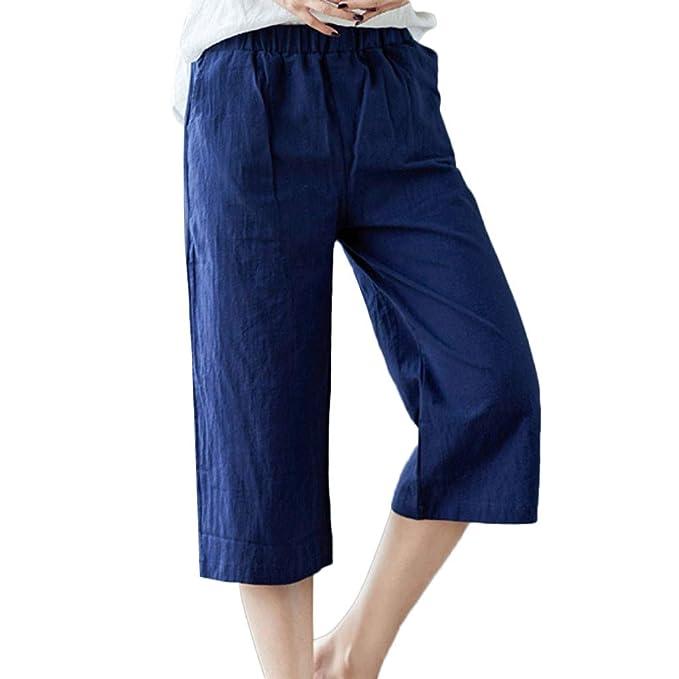 a2ef6656450 Sayla Pantalones Mujeres Leggings Verano Fitness HaréN PantalóN Cintura  EláStica PantalóN De Lino De AlgodóN Suelto PantalóN Ancho con Bolsillos:  Amazon.es: ...