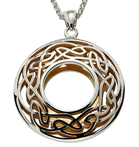 Keith Jack Jewelry, Window to the Soul Large Round Necklace, Sterling Silver & 22k Gilded Gold ()
