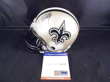 384dc042d Image Unavailable. Image not available for. Color  Drew Brees Autographed  Signed Mini Helmet New Orleans Saints PSA DNA Certified