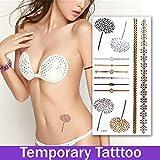 Wemore(TM)48 Styles Gold Silver Temporary Tattoo Flash Choker Metallic Tatu Flesh Diamond Chalker Flash tattoo Stickers On The Body