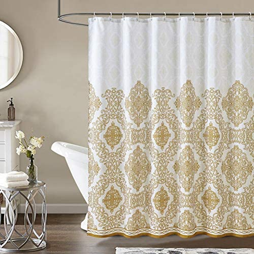 "Haizhidian Cloth Fabric Shower Curtain, 72x72 Heavy Duty Shower Curtain, No Chemical Odor and Machine Washable, Perfect for Showers & Bathtubs, Elegant European Pattern(Gold, 72""x72"")"