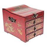 MonkeyJack Vintage Retro Wooden Chest Home Keepsake Decor Woman Make Up Dresser for Jewelry Storage - Red, as described
