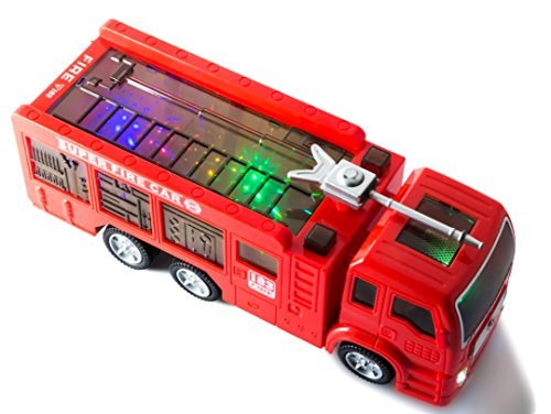 ToyThrill Electric Fire Engine Truck Toy with Automatic Sensor, 3D Star Flashing Lights and Siren Music: Best Christmas Gift for Toddlers & Kids Ages 3+ yrs (Christmas Best Gifts Toddler)