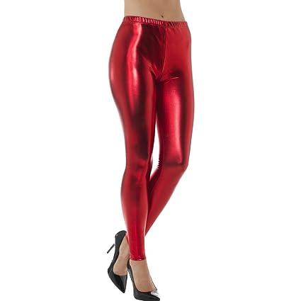 8f379ef011b41 Red Metallic Leggings - S (UK 8-10) | Disco Pants | Leggings Red Metallic |  Disco Leggings: Amazon.co.uk: Toys & Games
