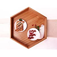 WoodenStuff Large Wooden Hexagon Tray with Handles Decorative Wood Tea Tray Serving Ottoman Table Breakfast Coffee Holder Kitchen Dining Accessories Cup Plate Bowl Stand Housewarming Gift