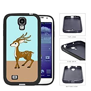 Cute Deer on Mint and Light Brown Block Background Samsung Galaxy S4 I9500?Rubber Silicone TPU Cell Phone Case