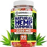 Natural Hemp Gummies - Ultra Volume 2250Mg - 90pcs - Premium Hemp Extract - Relieve Stress, Pain and Anxiety - Sleep and Mood Balance - Omega 3,6,9 - Made in USA