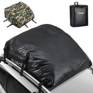 SUAOKI Car Top Carrier 100% Waterproof Roof Top Cargo Bag 15 Cubic Feet for Car Truck SUV Van with or without Roof Rack (Extra Camouflage Cover and Carrying Bag Included)