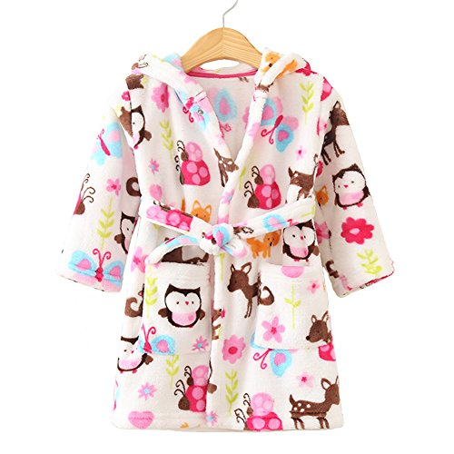 Robe Fleece Long Girls Sleeved (SUITEASY Little Girl's Robe Unisex Kids Sleepwear Soft Coral Fleece Bathrobe (100, Owl))