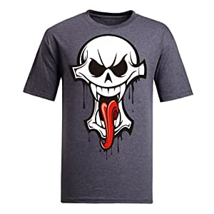 Custom Women's Cotton Short Sleeve Skulls Printed Round Neck T-Shirt in Various Colors by runtopwell