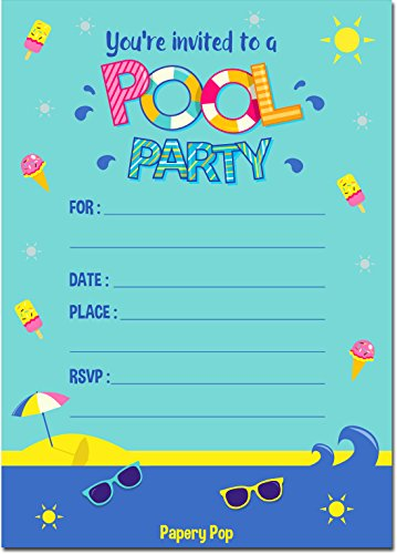 Papery Pop Pool Party Invitations with Envelopes (15 Count) - Kids Birthday Invitations for Boys or Girls