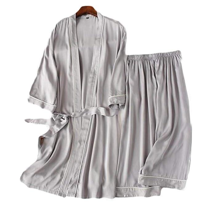 Traje de Estilo japonés de Dos Piezas Hombres Satin Kimono Bata ...