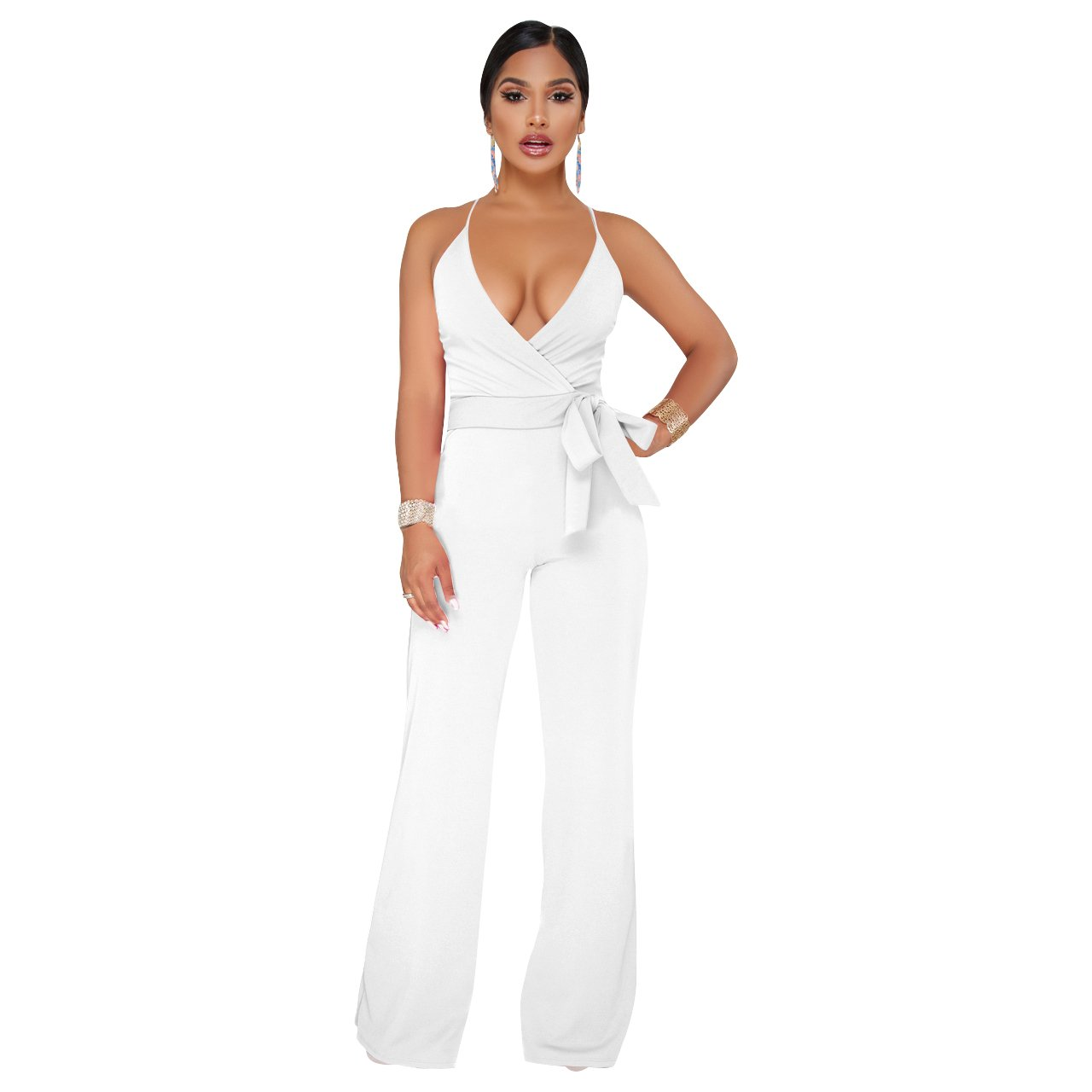 4f5972d2ee81 Amazon.com: Ermonn Women's Wide Leg Jumpsuits Sexy Halter V Neck Sleeveless  Wrap Wasitband Jumpsuit Rompers: Clothing